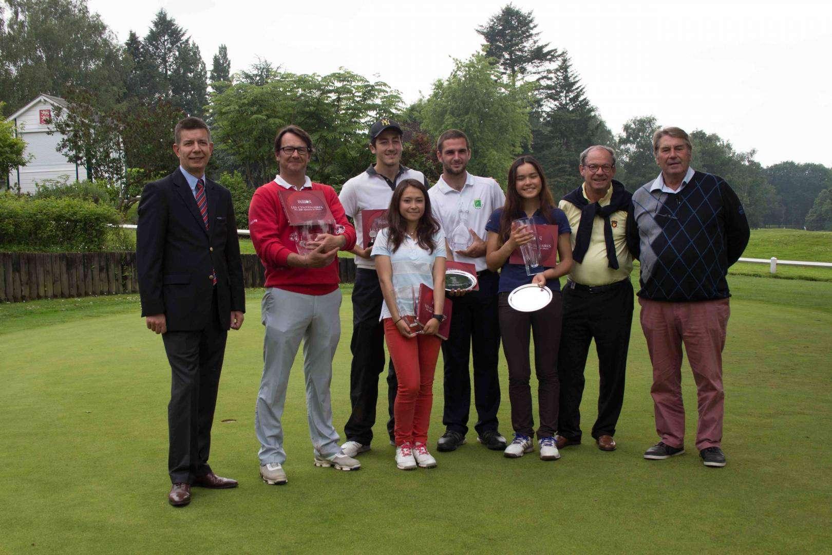 De g. à dr. : JM Deverre (Pdt CS), Thomas Tchiarnevski (2e H), Vincent Boubetra (3e H), Alexandra Codet (2e D), Jack Lee (vainqueur H), Elisabeth Codet (vainqueur D), P. Lordereau (Pdt Ligue), H. Bonutto (Pdt du Golf Rouen MSA).