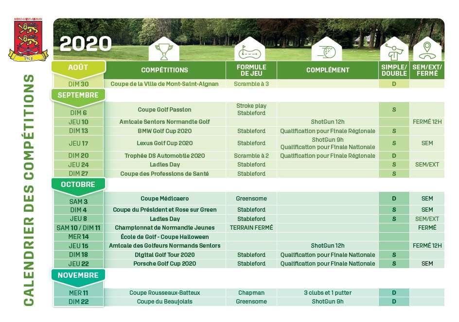Le nouveau calendrier des compétitions